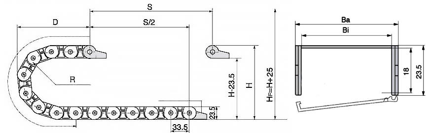semi closed cable track drawing1