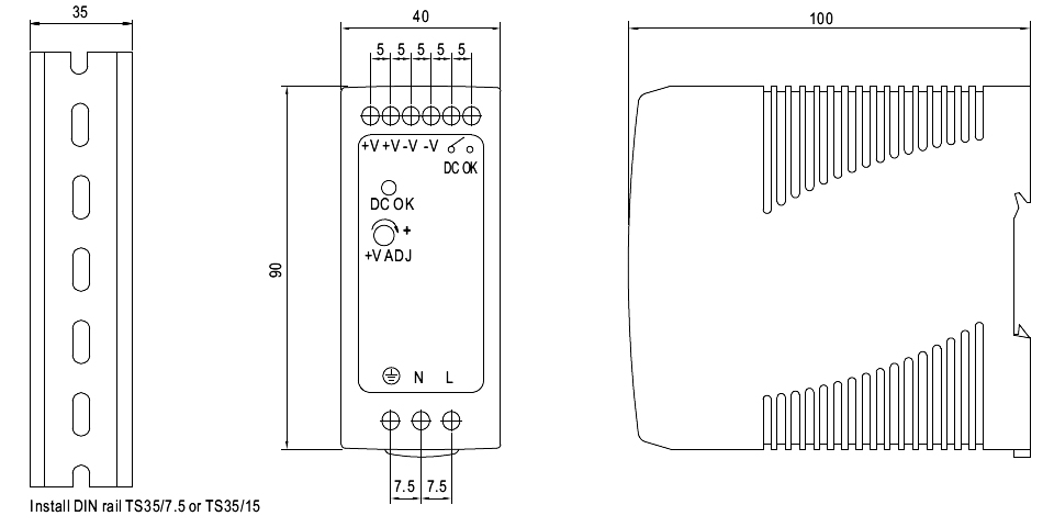 mdr 60 power supply dimensions