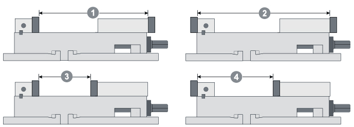 machine vise jaw positions